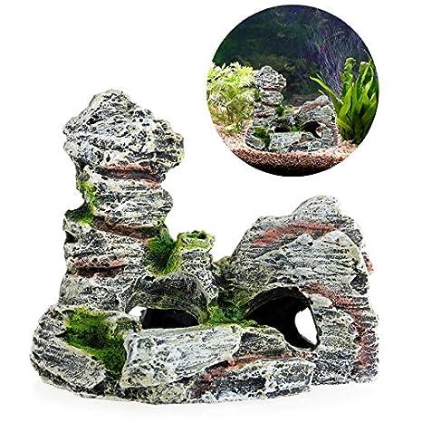 JAGETRADE Decoración para pecera, para acuario, árbol de roca, cueva, puente para pecera, decoración de acuario: Amazon.es: Hogar