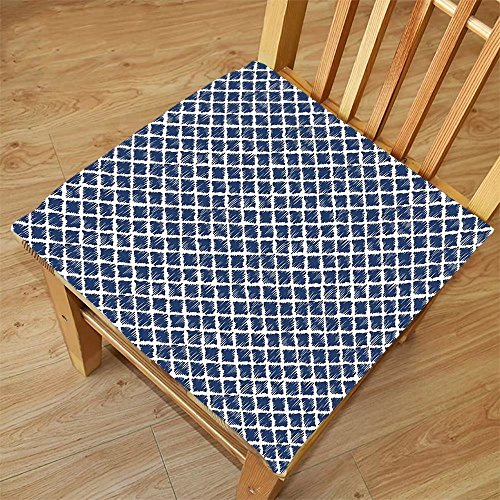 Nalahome Set of 2 Waterproof Cozy Seat Protector Cushion Indigo Hand Drawn Sketchy Like Zig Zag Inner Design with Rectangular Shapes Petrol Blue and White Printing Size - Rectangular Sunglasses Petrol