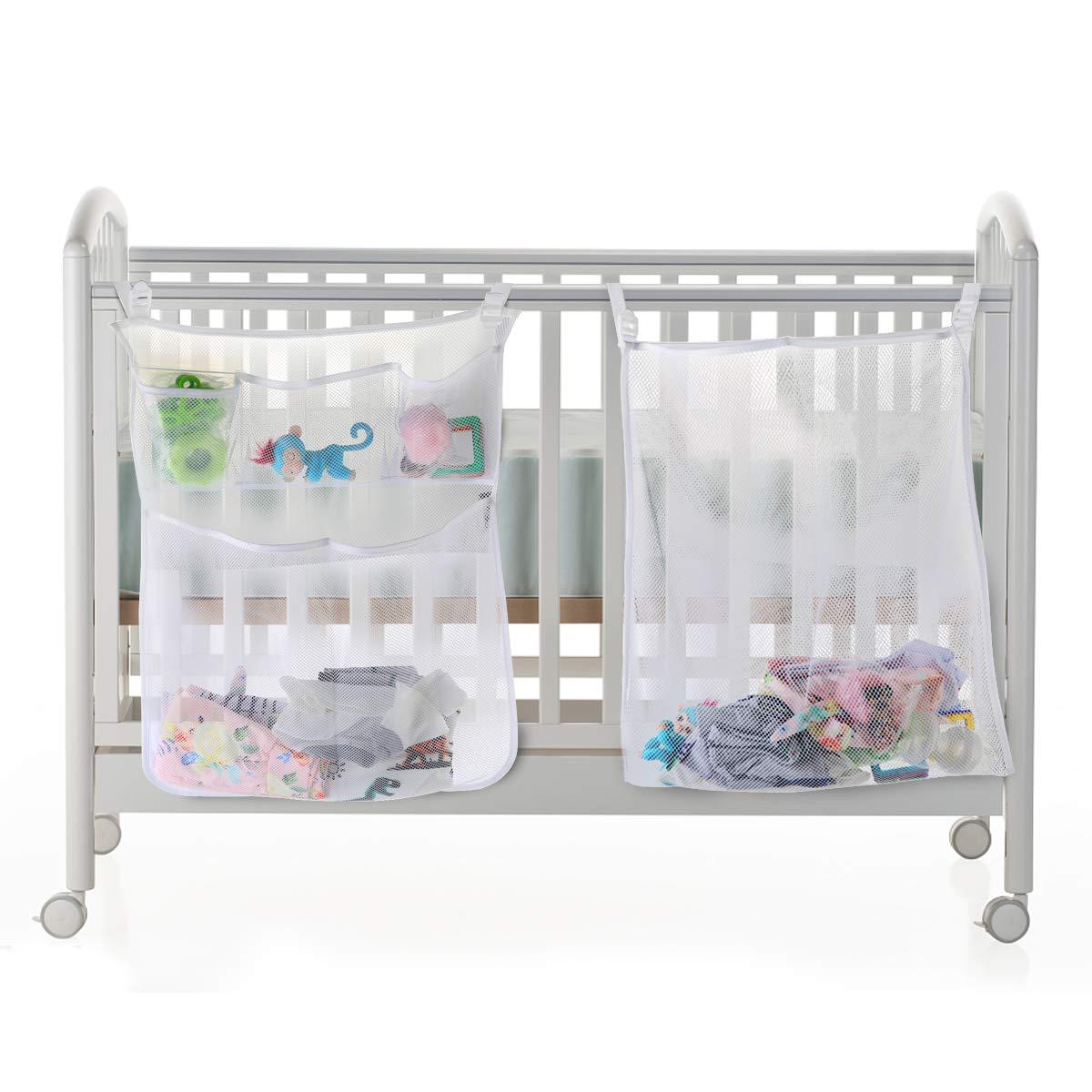 Baby Crib Clothes Diaper Organizer Mesh Bag Nursery Bedside Hanging Storage Bag
