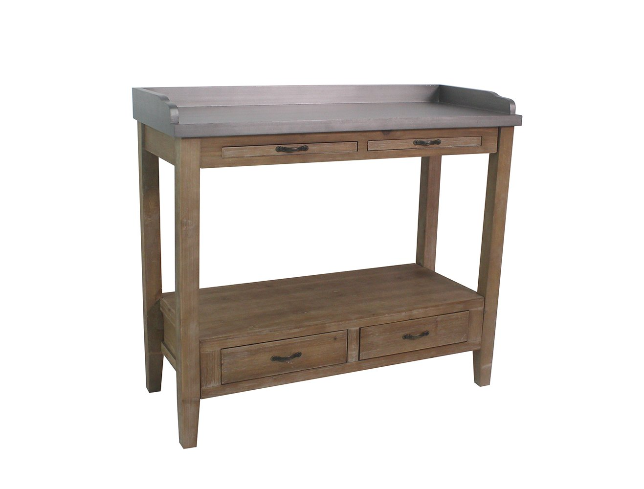 Urbanest Hunter Bar Cart and Kitchen Prep Station, 32-inch Tall, Gray with Natural Wood