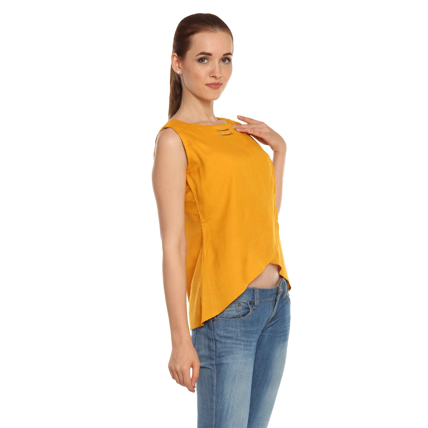 5e7fb7d82f537 Itsyor Sleeveless Mustard Color Open Belly Casual wear Women s top  Amazon. in  Clothing   Accessories