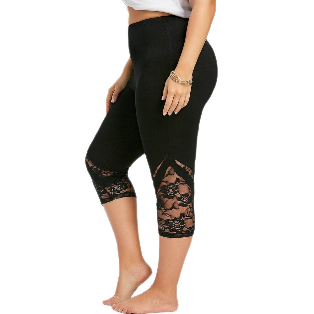 Fashion Women Lace Plus Size Skinny Pants Yoga Sport Pants Leggings Trousers