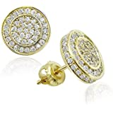 BBL 10mm Round Stud Earrings For Women Men Iced Out CZ Stud Earrings Screw-back Hypoallergenic Hip Hop 14k Gold/White…