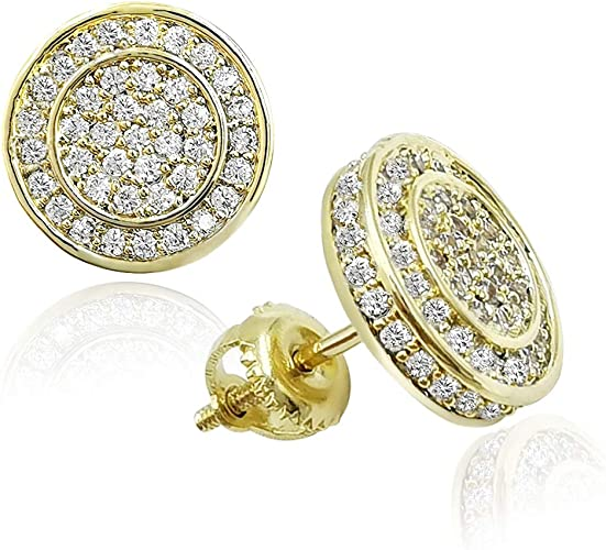 Round Cubic Zirconia Square Cluster Stud Earrings for Girls Teens Women in 14k Gold Plated