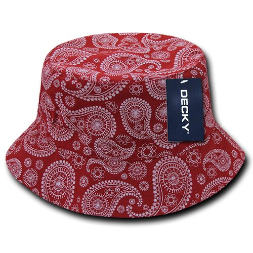 DECKY 459-PL-RED-06 Paisley Bucket Hat, Red, S_M Decky Brands Group