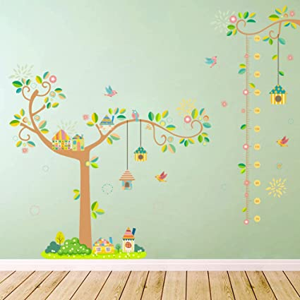Amaonm Hot Fashion Birds Home Nest Cartoon Tree Branches Kids Growth Height Measurement Chart Wall