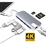 "USB C Hub, ALLEASA GN30H 8 in 1 Type C Adapter with 4K HDMI, Gigabit Ethernet, USB C Power Delivery, 3 USB3.0, SD TF Card Reader for MacBook Pro 13"" 15"" 2016/2017 Chromebook DELL XP More (Gray)"