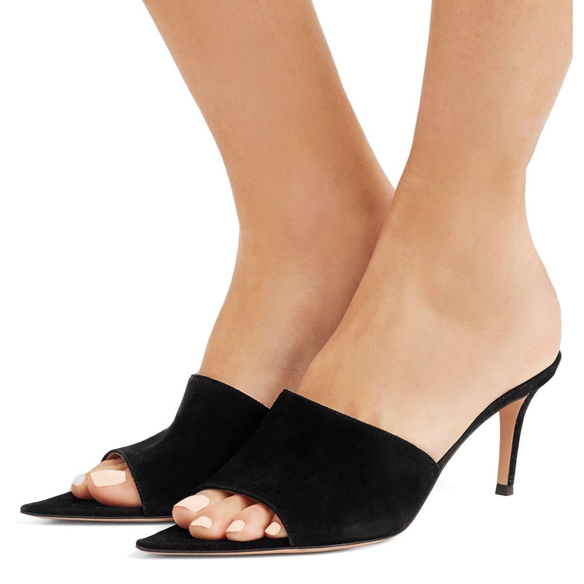 FSJ Women Fashion Mid High Heels Sandals Suede Slip on Open Toe Mules Sexy Slide Shoes Size 11 Black-7 cm