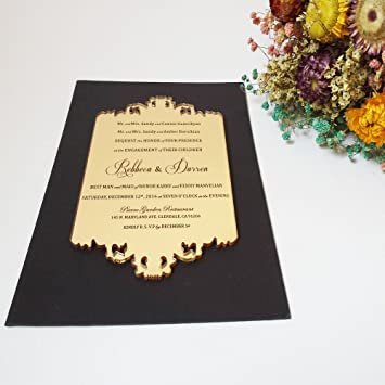 50pcs per lot 110x180mm laser engraved letters golden mirror acrylic 50pcs per lot 110x180mm laser engraved letters golden mirror acrylic wedding invitation card stopboris Gallery