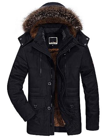 Manteau Noir Homme Hiver Chaud Parka Capuchon Blouson Coton