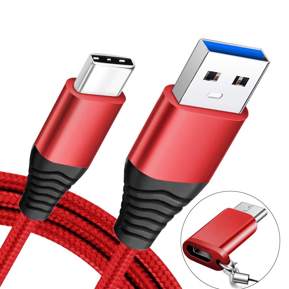 COVERY usb type c ケーブル 3.0A ,急速充電 5Gbps高速データ転送 タイプc ケーブル galaxy s8/s8 plus/s9/s9 plus/s9+/エクスペリア/ Xperia XZ premium/Xperia XZ1/Xperia XZ2/honor8/huawei P20/P20 Pro /NEW MacBook/typeCなどの端子搭載多機種に対応 usb c 変換アダプタ付き(1.2m,レッド)