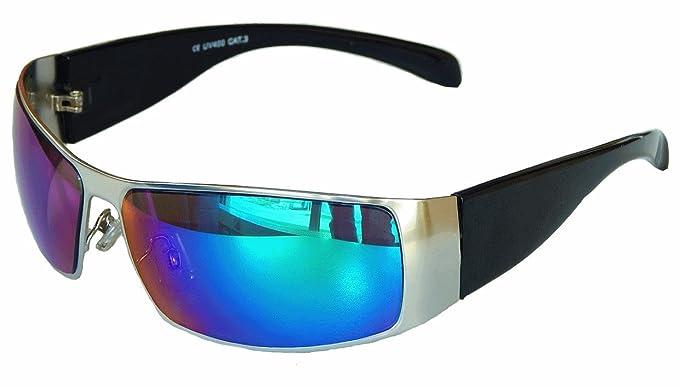 Sportbrille Sonnenbrille Motorradbrille Radbrille Sport Gangster Style (schwarz blau grün verspiegelt) Q7IbjGFKdx