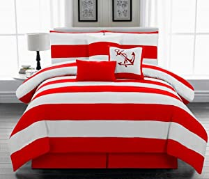 Legacy Decor 7pc. Microfiber Nautical Themed Comforter Set, Red and White Striped Queen Size