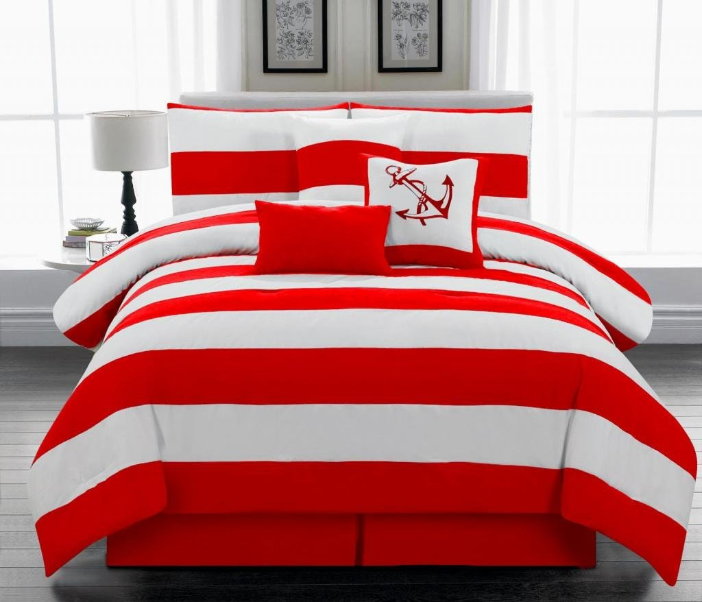 Legacy Decor 7pc. Microfiber Nautical Themed Comforter Set, Red and White Striped Full Size