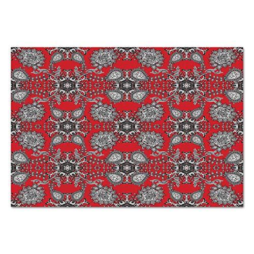 Large Wall Mural Sticker [ Red Mandala,Doodle Mandala Flower Ivy Swirls Classic Paisley Ethnic Design Image Decorative,Scarlet White Black ] Self-adhesive Vinyl Wallpaper / Removable Modern ()