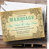 Typography Vintage Turquoise Postcard Personalized Evening Reception Invitations