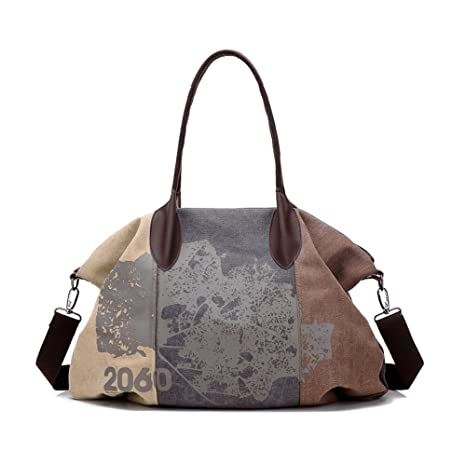 ea04db3d0bfbdd Amazon.com: on Women's Contrast Color Tri-Tones Print Canvas Casual Hobo Tote  Handbag Large Capacity Shoulder Bag: Computers & Accessories