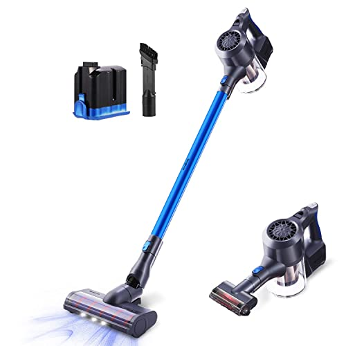 Cordless Vacuum Cleaner, SIMPFREE 22KPa Powerful Suction Stick Vacuum, Handheld Versitile Vacuum with Digital Motor Lithium Battery LED Brush Multi-attachments HEPA Filtration