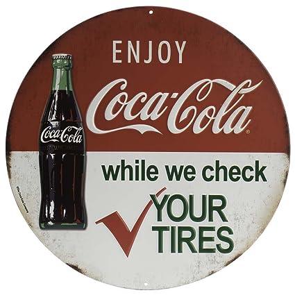 Pleasing Open Road Brands Vintage Retro Metal Tin Signs Coca Cola Round Embossed Metal Sign For Diner Bar Art Man Caves And Home Decor Interior Design Ideas Truasarkarijobsexamcom