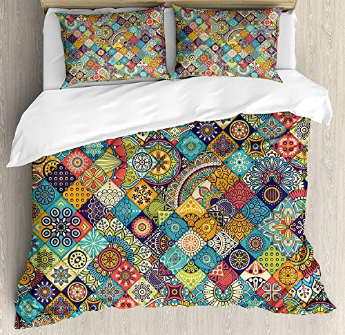 Bohemian Bedding Duvet Cover Set, Geometric Pattern with Ethnic Ornamental Floral Figures Ethnic Folk Art Abstract, Decorative 3 Piece Bedding Set with 2 Pillow Shams, Multicolor -