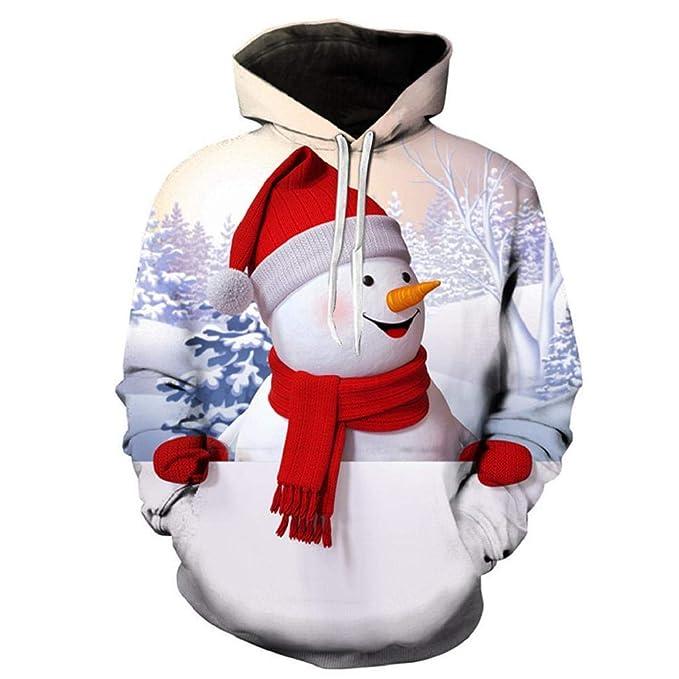 SHOBDW Hombres Sudadera con Capucha Otoño Invierno Moda Lindo Muñeco de Nieve de Impresión Suelta Manga