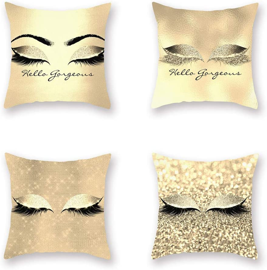 Ussuperstar Set of 4 Hippy Eyelashes Throw Pillow Covers Decorative Indoor Outdoor Cushion Cover 18 X 18 Inch Pillowcase for Sofa Car Bed Shopwindow (A02)