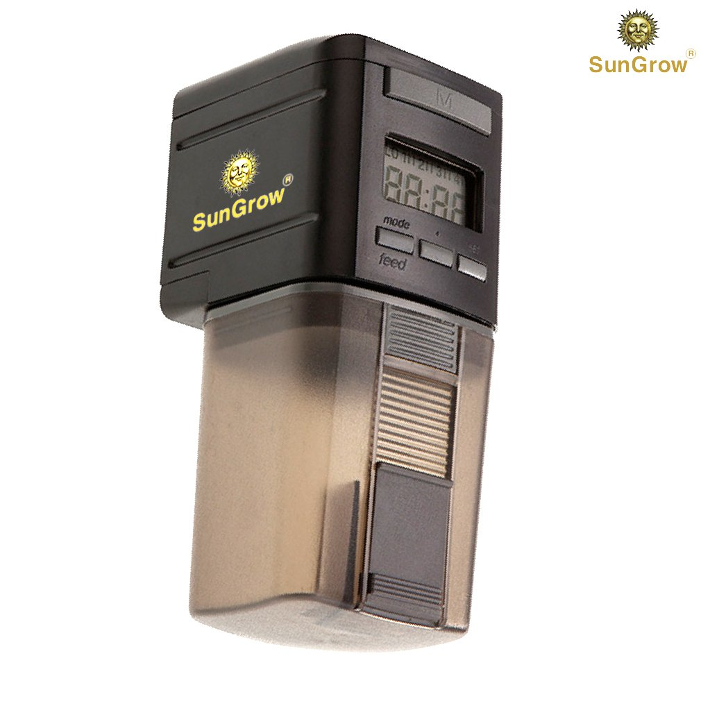 SunGrow Automatic Fish Feeder - Easy To Install on Fish Tank - Never miss any feeding time - Ideal for vacation, weekend getaway