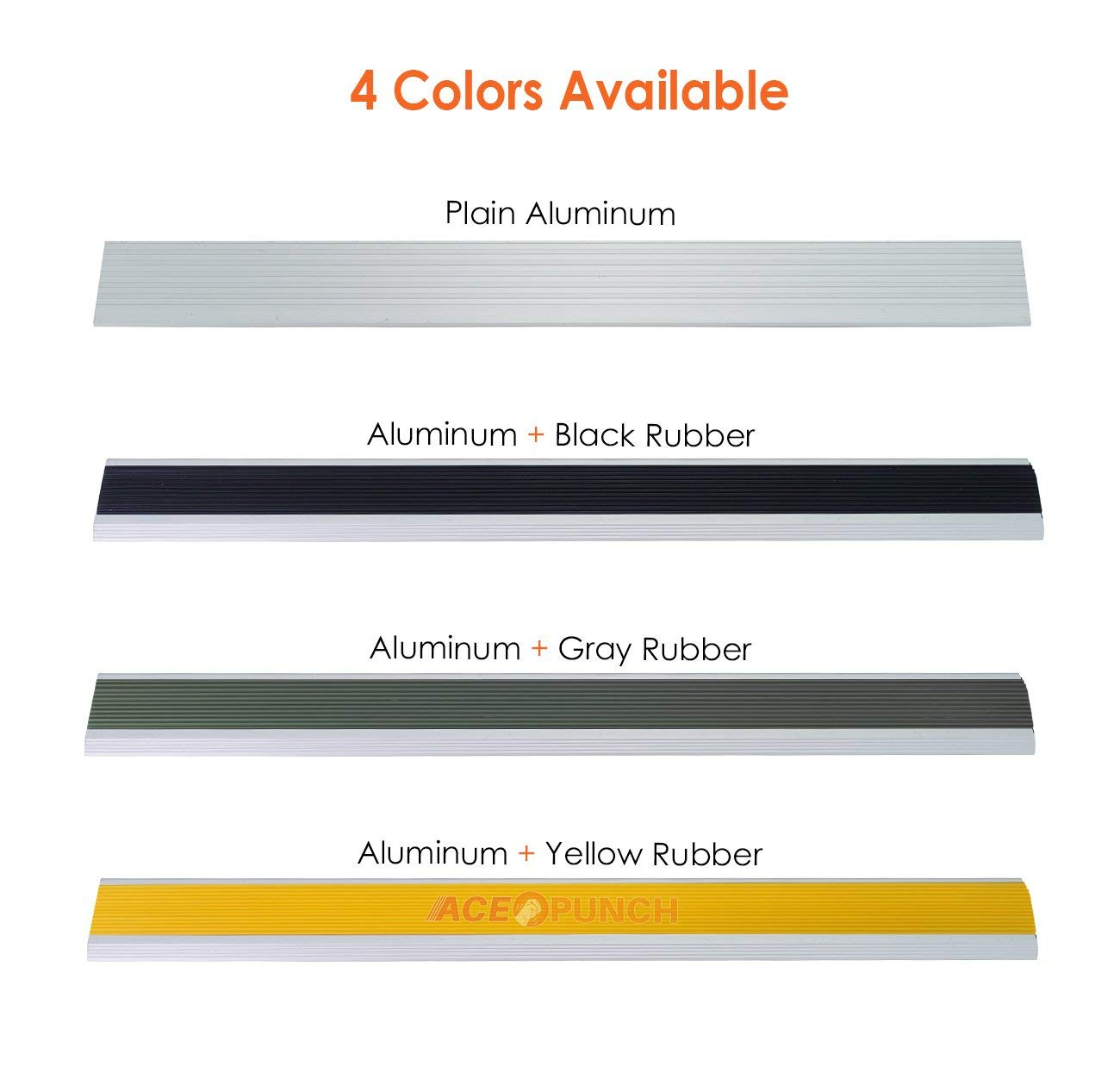 19.7 X 2 X 0.8 Inches Nez De Marche En Aluminium avec caoutchouc noir AP1180 Acepunch New Produits De Construction Descalier En Aluminium Marche descalier 50 X 5 X 2 cm