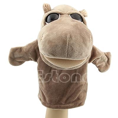Dabixx Marionnette Hippopotame animaux en peluche chaud mignon Speak Talking son Record Hamster jouet éducatif pour enfants Cadeau Hippo 24× 16cm