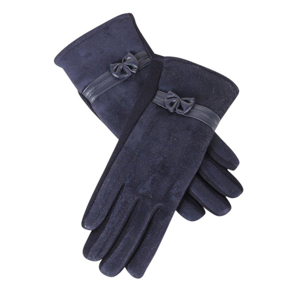Lanhui 1Pair Screen Riding Drove Gloves for Women Winter Warm Gloves (22.5cm/8.9'' x18cm/7.1'', Navy)
