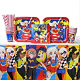 Cedar Crate Market DC Superhero Girls Pack for 16 Guests: Straws, Dinner Plates, Luncheon Napkins, Cups, and Tablecover (Bundle for 16)
