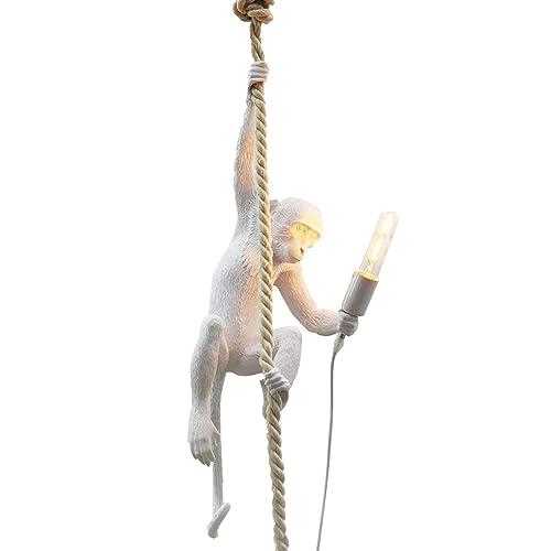 IJ INJUICY Loft Vintage Resin Hemp Rope Monkey Pendant Light Fixture Industrial Retro E26 Edison Ceiling Pendant Lamp for Dining Living Room Children s Bedroom Bar Cafe