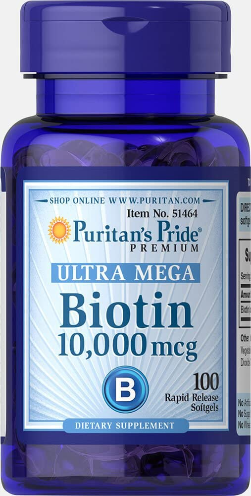 Biotina Ultra Mega 10000mcg Puritan's Pride 100 Softgels