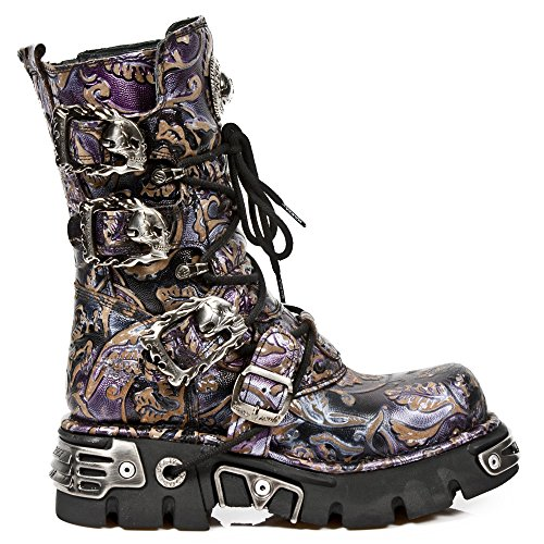 Gothic Purple Lilac Punk M 391 Leather Heavy Rock Women's Men's Boots Unisex Heel Ladies New S5 ZpHwqSv