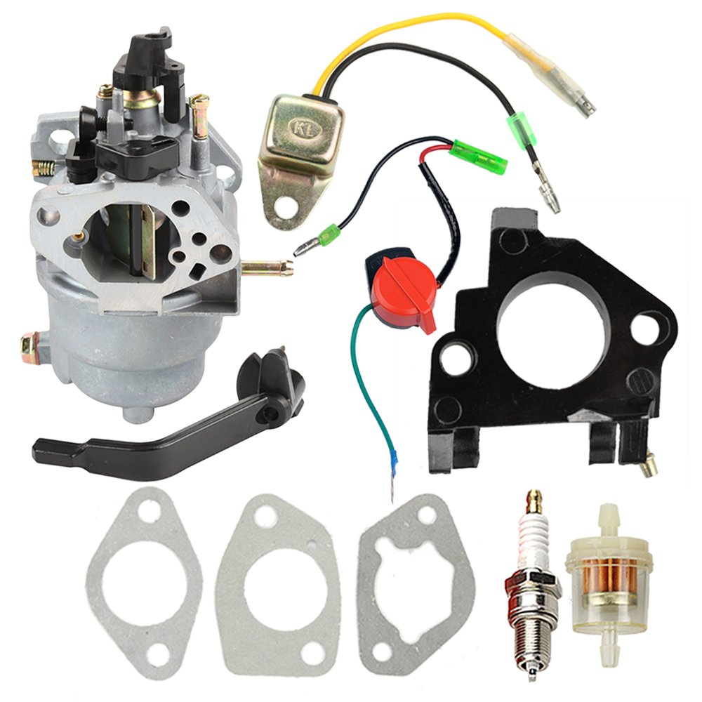 Carburetor with Insulator Oil Sensor for Generac GP5000 GP5500 GP6500 GP6500E GP7500E 389cc 8125W 0J58620157 Jingke Huayi Kinzo Ruixing 13HP 14HP 15HP 16HP 188F 190F Portable Generator