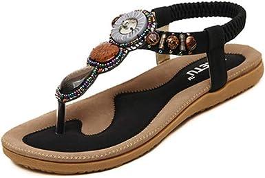 Women/'s Fashion Beaded Flower Clip Toe Flat Bohemian Herringbone Sandals Thong