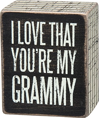 Primitives by Kathy Pinstripe Trimmed Box Sign, 2.5 x 3-Inches, Grammy (Gift Grammy)