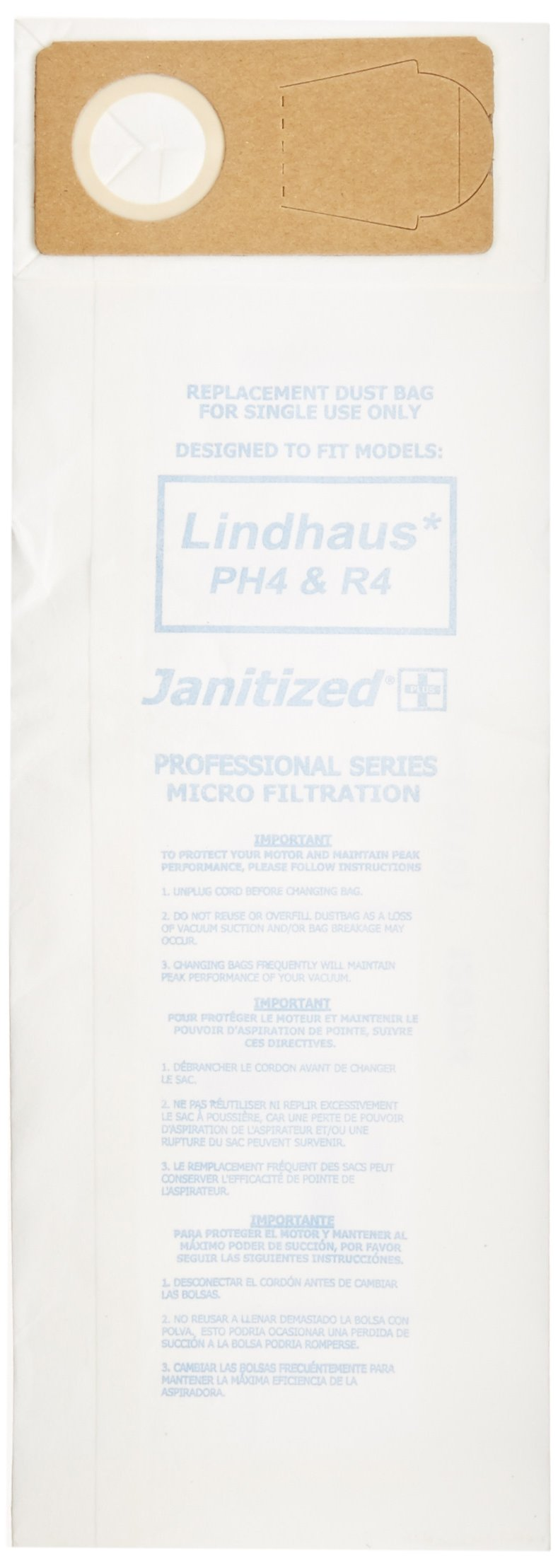 Janitized JAN-LPH4-2(10) Paper Premium Replacement Commercial Vacuum Bag For Euroclean Pro, Lindhaus Healthcare Pro, RX HEPA,CH Pro, Dynamic Vacuum Cleaners (10 - 10 packs) by Janitized (Image #2)