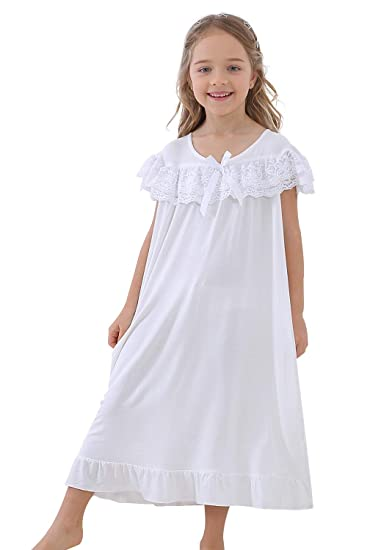 a7022c0fdc CattyGirl Lovely Girls Nightgown Cute Cotton Lace Vintage Bow Princess  Sleeepwear Kids 3-12 Years