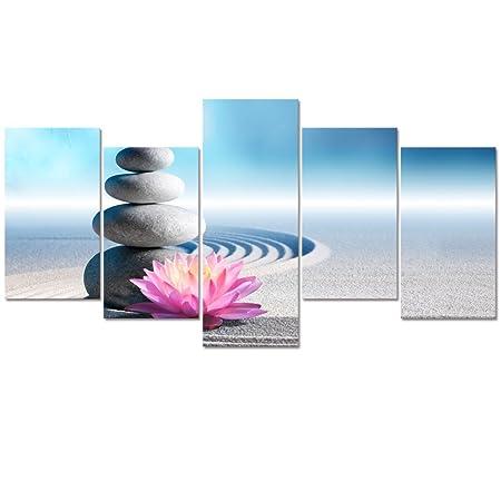 Visual Art Decor Zen Yoga Room Wall Picture Giclee Canvas Prints White Sand Stone Lotus Flowers Zen Landscape Home Wall Decor Framed Wall Art MediuM