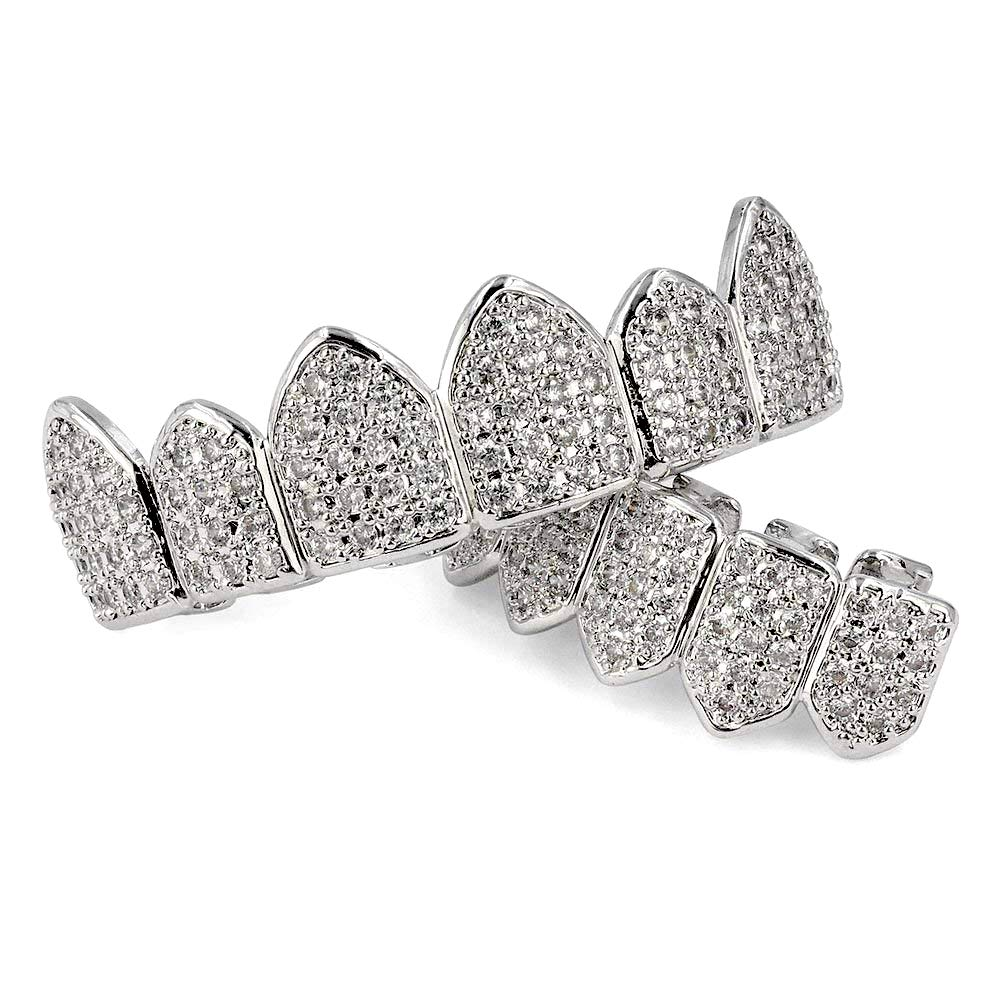 Hollywood Jewelry 18K White Gold Plated Macro Pave CZ Iced-Out Grillz with Extra Molding Bars Included (Set)