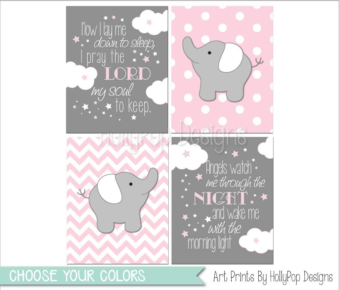 Baby elephant decor, Pink gray baby girl bedroom art, Pink gray elephant  wall art, Now I Lay me Down to Sleep, Pink gray girls room wall art - SET  OF