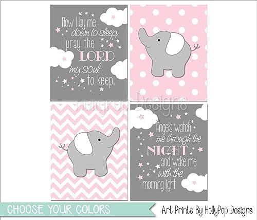 Amazon.com: Baby elephant decor, Pink gray baby girl bedroom art