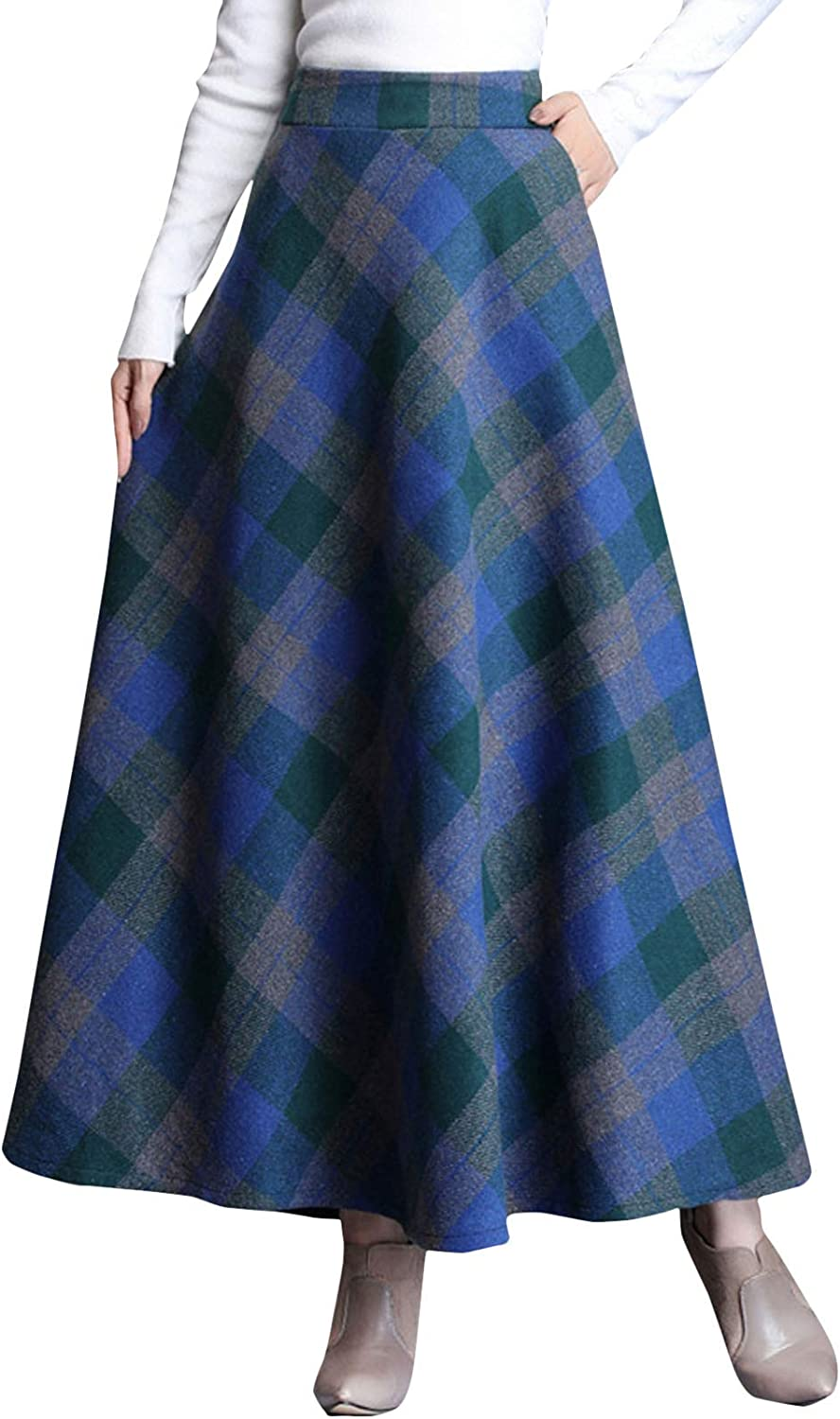 1950s Swing Skirt, Poodle Skirt, Pencil Skirts Flygo Womens Winter Warm Wool Plaid A-Line Pleated Midi Long Skirt Back Elastic $34.98 AT vintagedancer.com