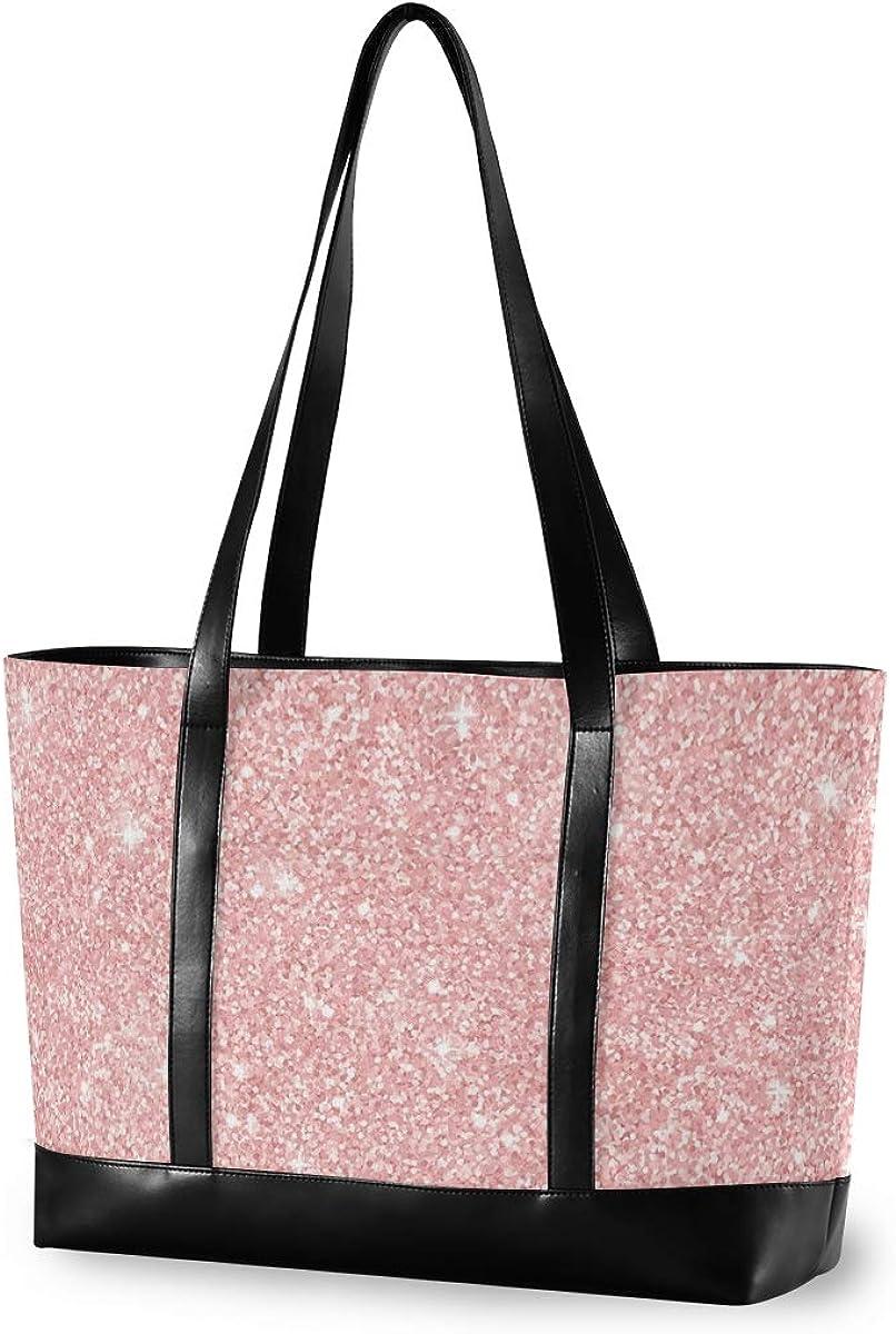 Large Woman Laptop Tote Bag Planet Silver Dot Glitter Canvas Shoulder Tote Bag Fit 15.6 Inch Computer Handbag for Work School Hiking