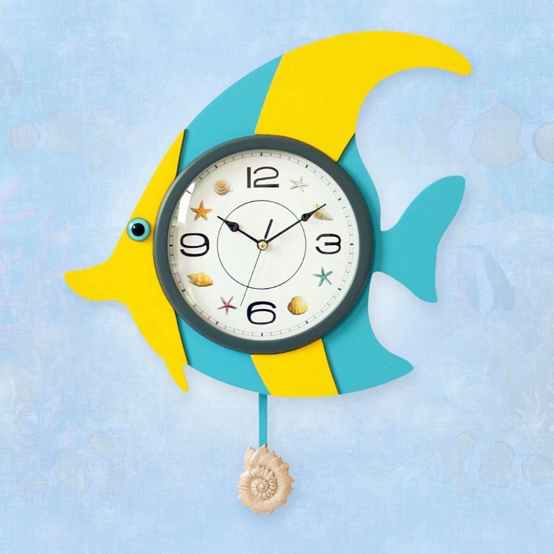 魚型 木質 掛け時計 リビング 寝室 現代アート ファッション クロック 振り子時計 懐中時計 アニメ コンテンツ ブルー SFANY B07DT9Q7H9 ブルー ブルー