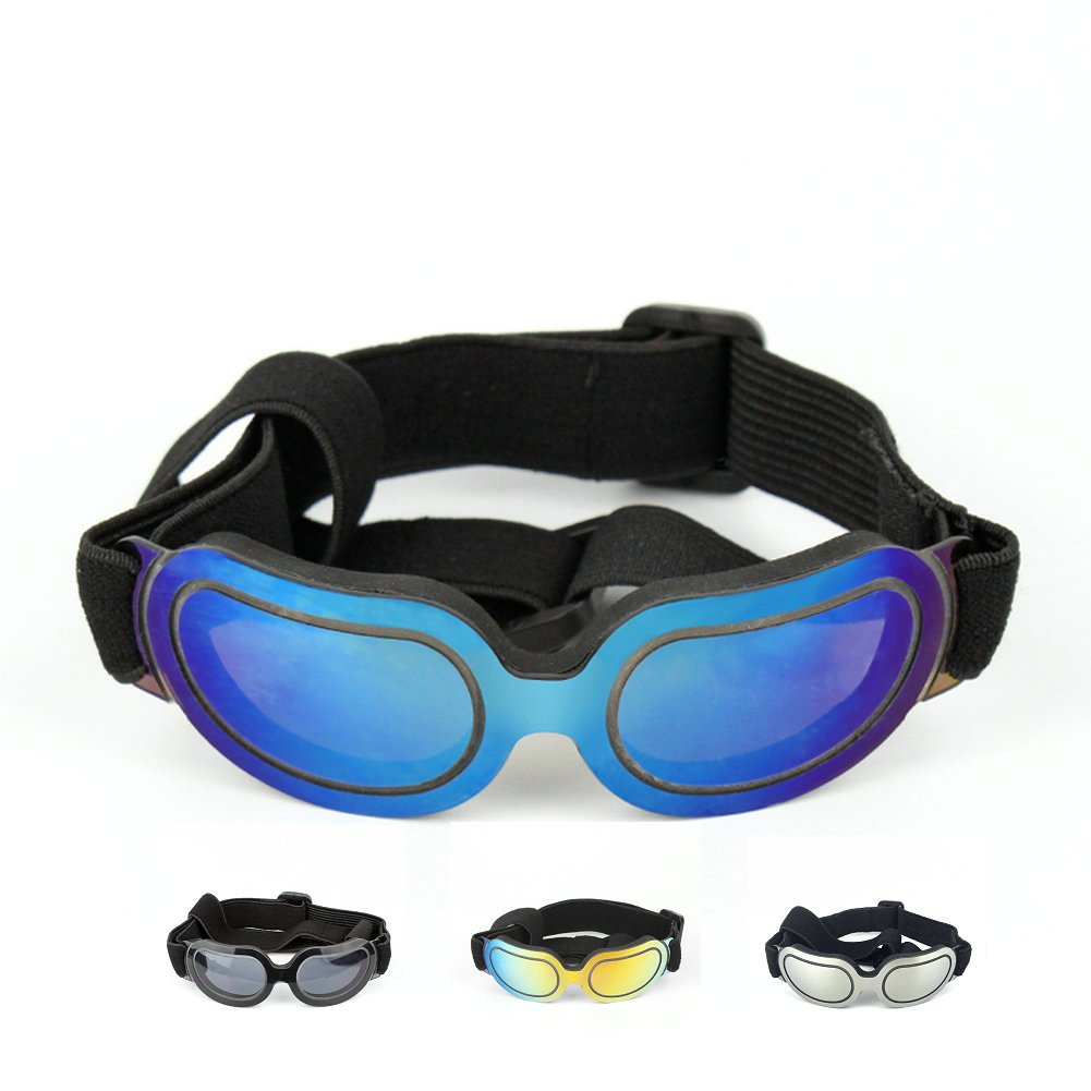 Petvins Doggie Goggles Dog Sunglasses Fashion Pet Eyewear UV Protection Waterproof for Cat Doggy Puppy Small Blue