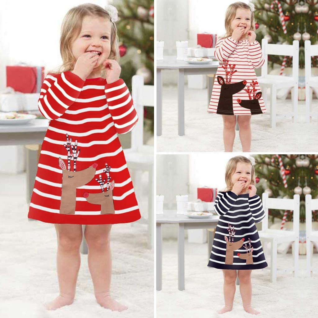Kaicran Toddler Girls Cotton Party Casual Striped Long Sleeve Deer Princess Dress Christmas Outfits