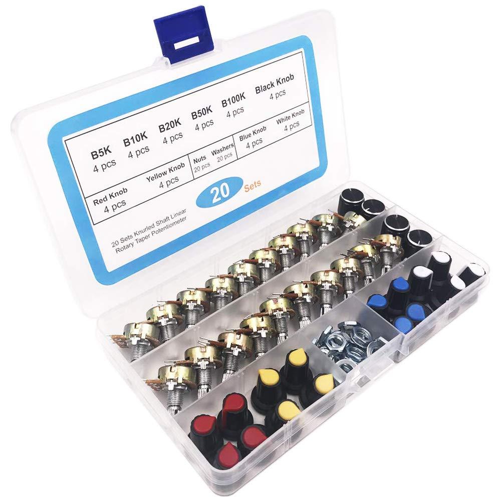 GTIWUNG 10Pcs Potenziometro Rotativo a Cono Lineare B5K B10K B20K B50K B100K Ohm WH148 Regolabile B-Tipo Rotante Potenziometro,1K-100K Ohm 3296W Trimmer multigiro Resistore variabile Potenziometro