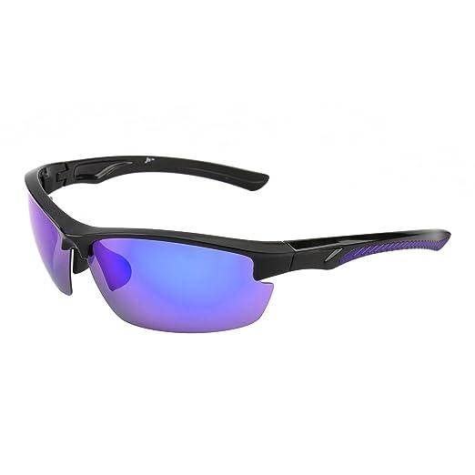 Gafas de Sol Deportes Polarizadas Sin Borde para Mujer Hombre Béisbol Ciclismo Correa Conducir Pesca Golf Excursionismo UV400(Mate Negro/ Polarizado Verde): ...